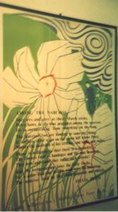 """A painting with the text of """"Among the Narcissi"""""""