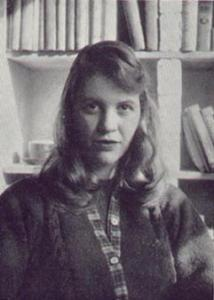 Black and white photo of Sylvia Plath in Cambridge, 1957